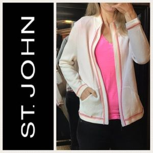 ST JOHN Crochet Knit Full Zip Jacket